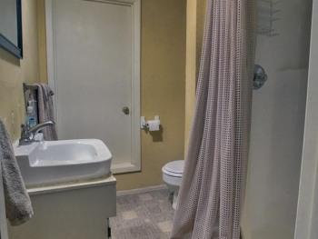 Bathroom located on the bottom level