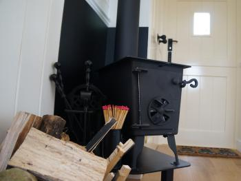 Log burner in Shepherds Hut