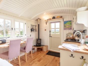 Inside of Leveret, our luxury shepherd's hut