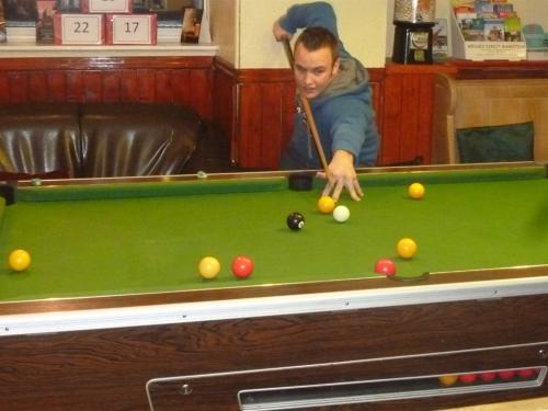 Pool table avaiable in the bar