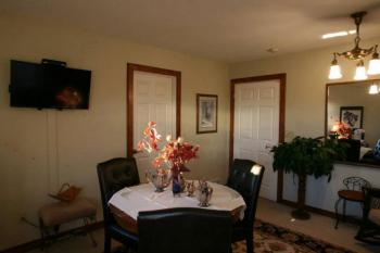 Our Gathering room where treats, coffee, tea and cocoa are served 24 hours
