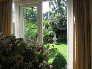 Through the french windows and into the garden