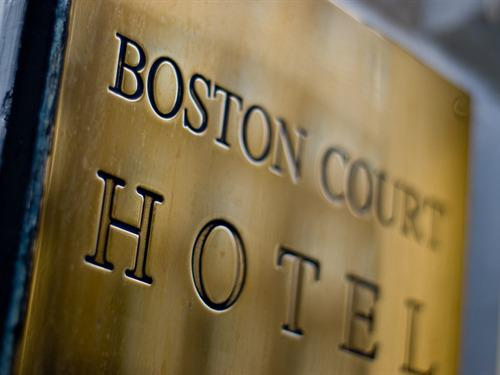 Boston Court Hotel sign