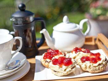 Enjoy Fresh homemade Scones and Tea on arrival