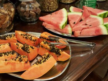Breakfast Buffet - selection of fresh fruits - some from our own gardens!, cereals,etc.